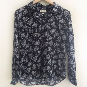 LOFT Outlet Navy Blue and White Floral Shirt